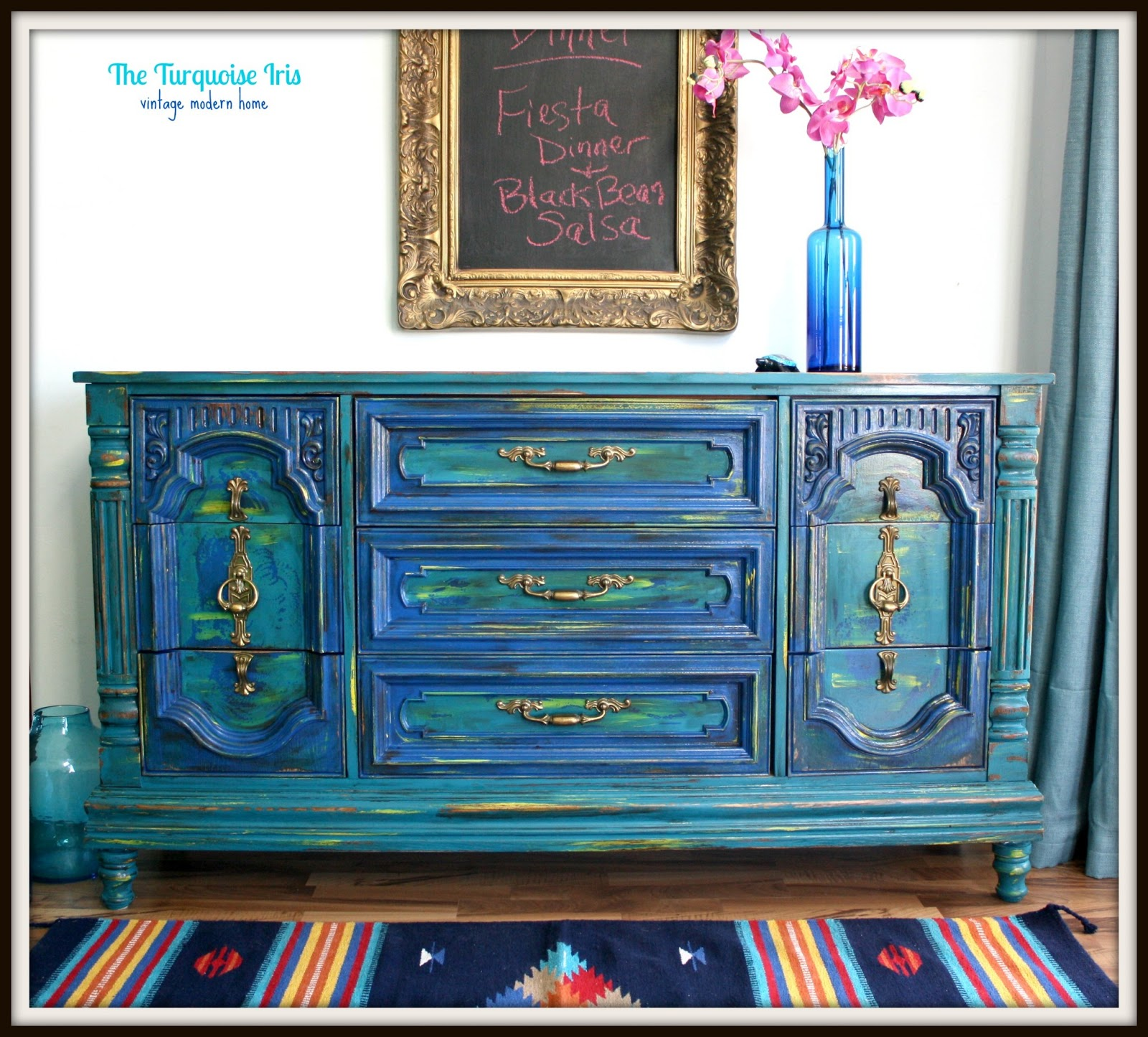The Turquoise Iris Furniture Art Teal And Cobalt Blue Distressed Dresser Buffet