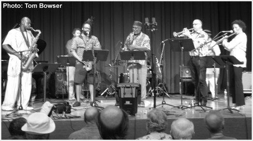 Chicago Jazz Festival (2015) David Boykin Expanse - David Boykin (saxophonist on left), Josh Abrams (base), James Baker (piano), Marcus Evans (drums), Dan Godston (trumpet), Nicole Mitchell (flute), Jayve Montgomery (saxophone), Shanta Nurullah (base), Eliel Sherman Storey (saxophone), and Alex Wing (guitar)