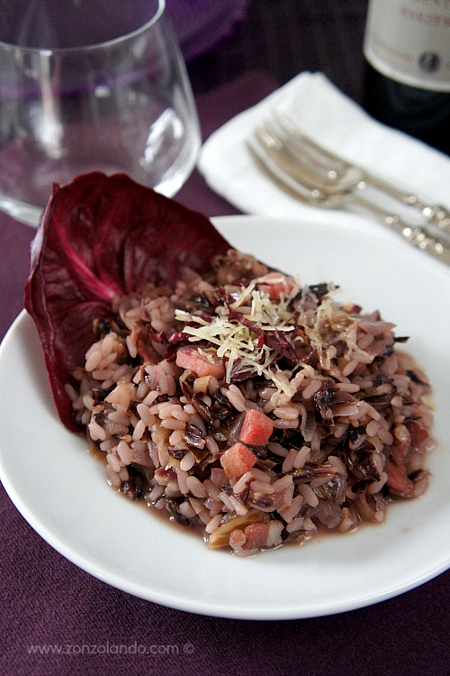 Risotto al radicchio e pancetta ricetta - red radish and bacon risotto tasty and easy recipe