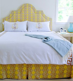 Teaming an upholstered headboard with valance can finish and brighten a dull bedroom.