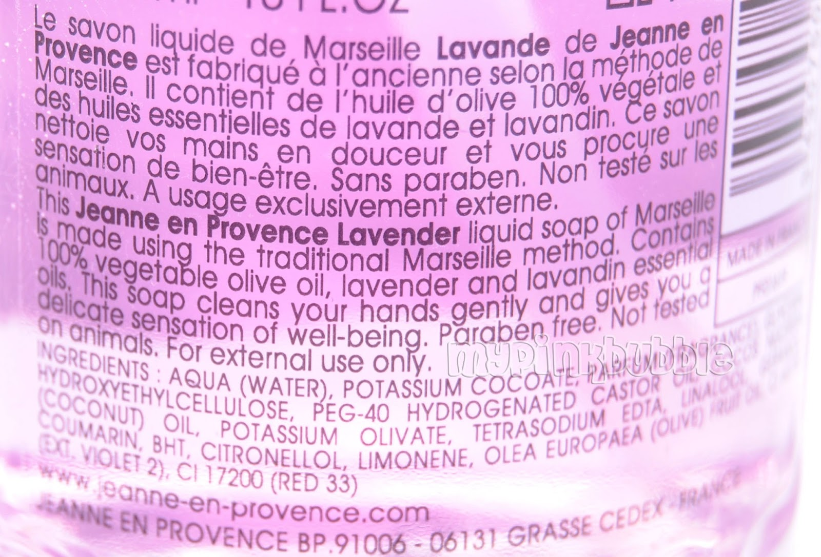 Jeanne provence jabon liquido lavanda ingredientes