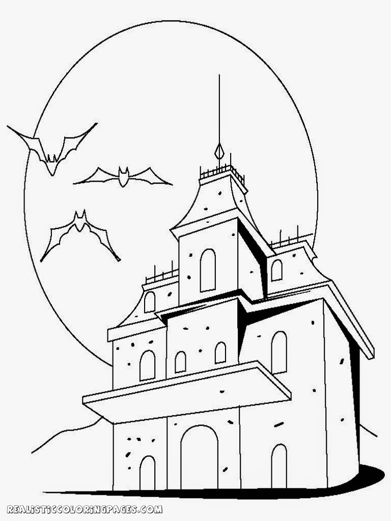 halloween haunted house free coloring pages