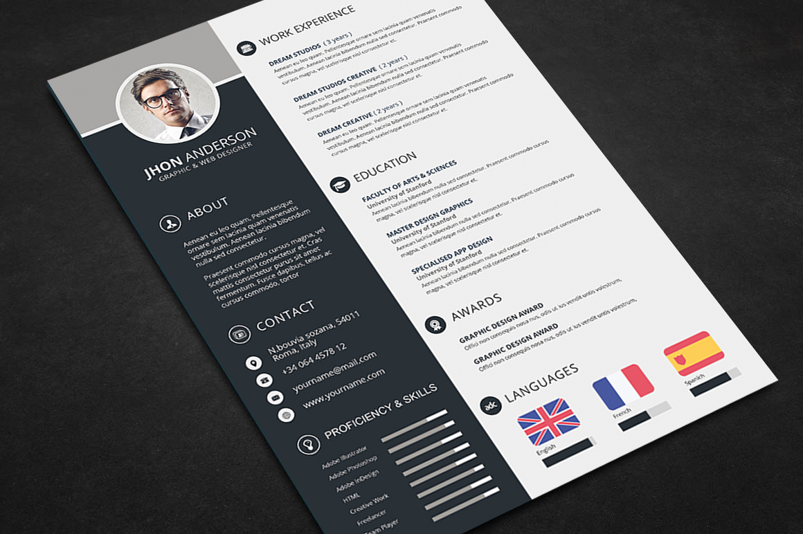 professional resume cv template free psd files graphic web design resources graphicstoll