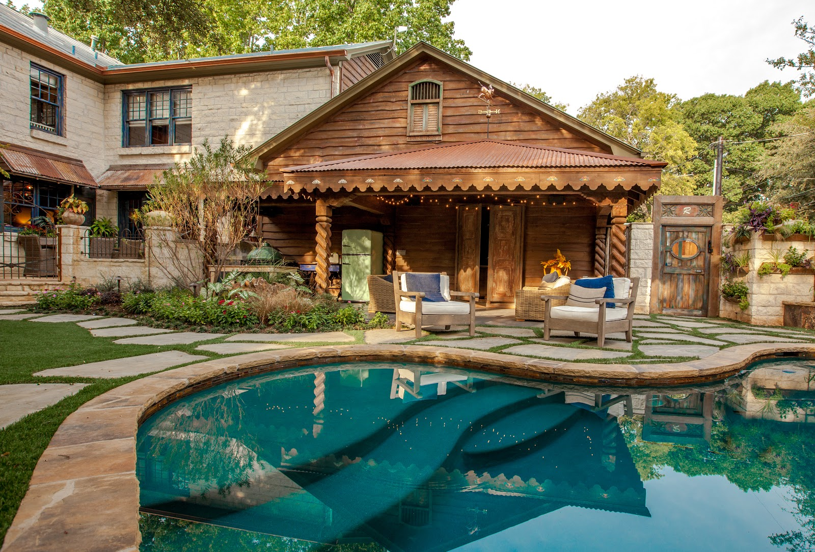 Key residential featured in renovation dallas magazine for Custom pool cabanas