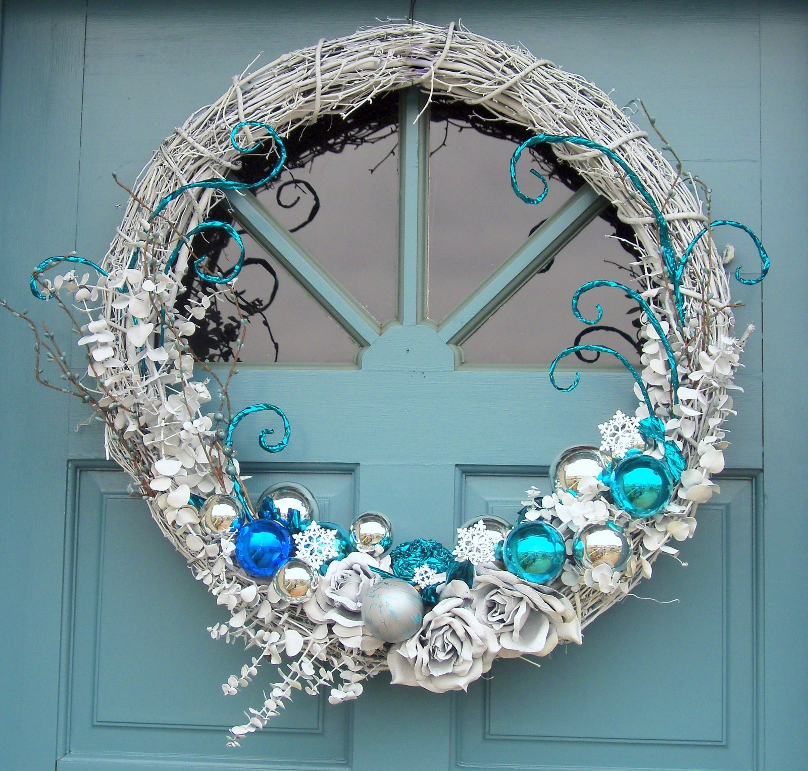 Make The Best Of Things Teal Silver And White Wreath Redo