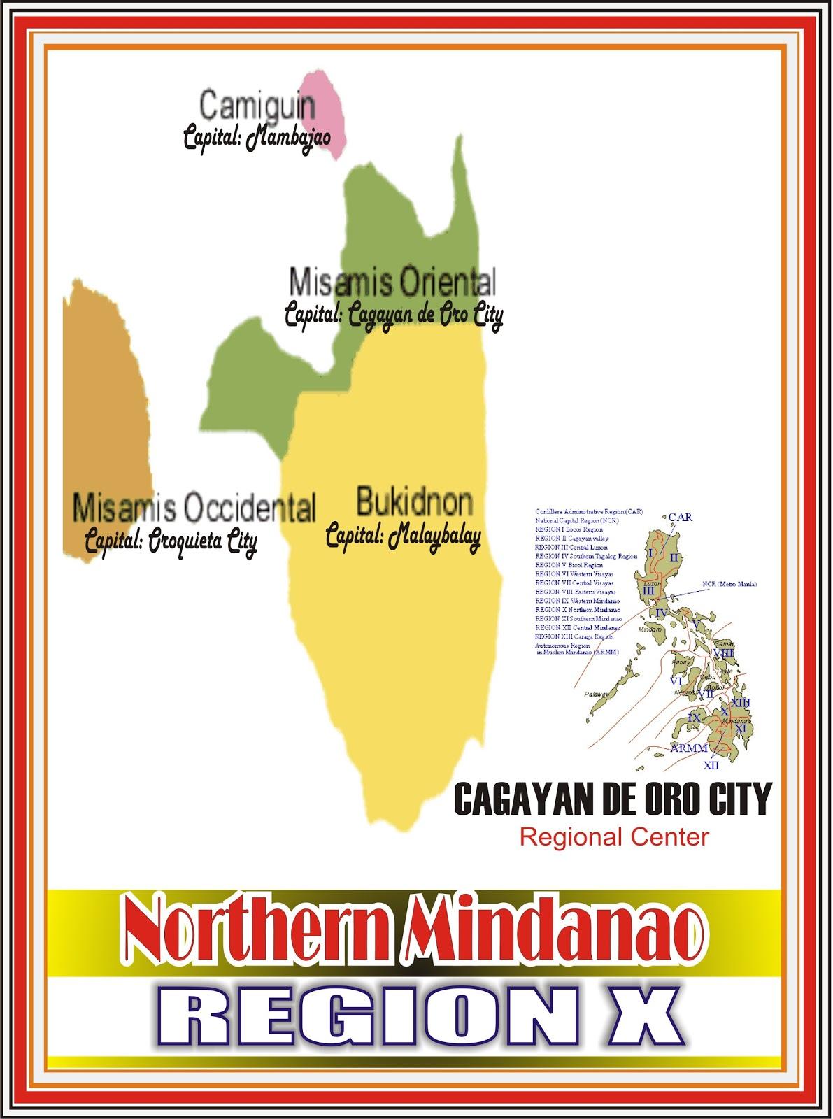 Mindanao Philippine Map with Regions