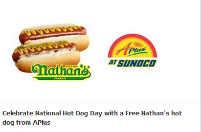 photograph relating to Nathans Printable Coupons named Sunoco APlus - Upon July 20th Receive a Free of charge Nathans Sizzling Canine w