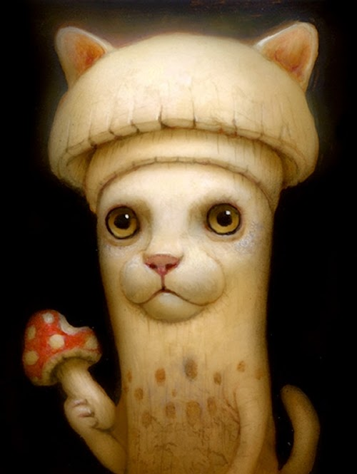 22-Shroom-Collector-Naoto-Hattori-Dream-or-Nightmare-Surreal-Paintings-www-designstack-co
