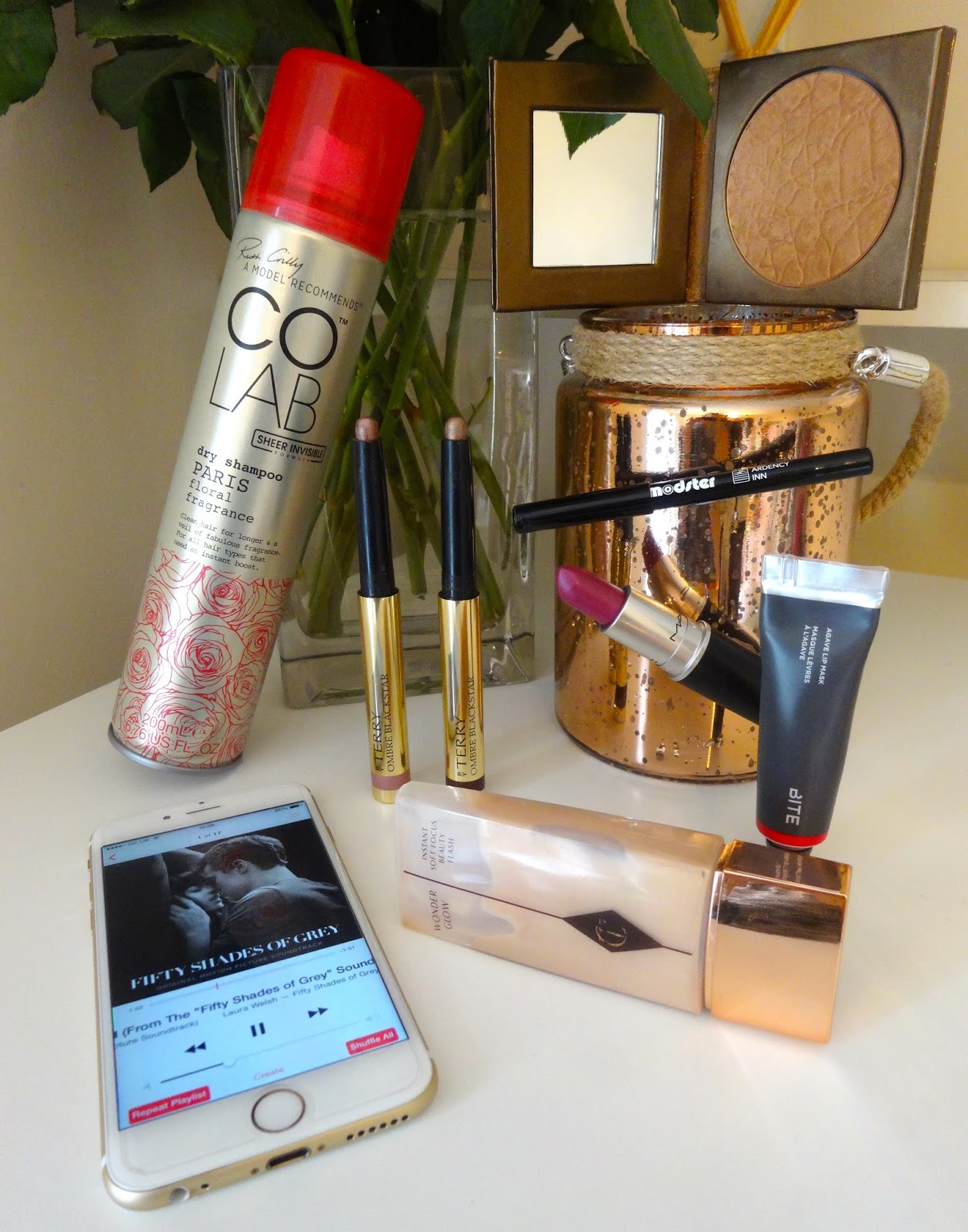 Colab dry shampoo Paris, By Terry Ombre blackstar, Ardency Inn modster eyeliner, Charlotte tilbury wonderglow, fifty shades of grey soundtrack,