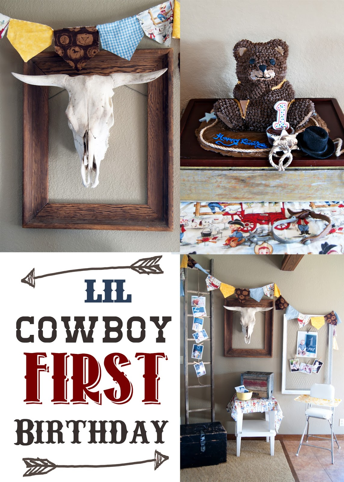 Bull skull and Binting, Party Backdrop and Cowboy Bear Cake