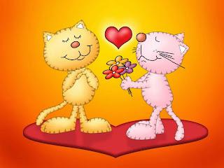 pareja de gatos entregando flores y amor