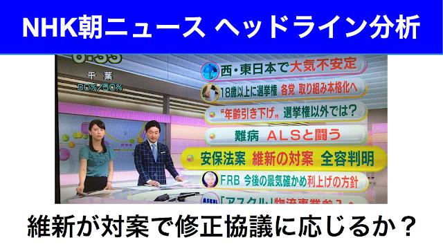 NHK朝ニュース維新対案集団的自衛権2015年6月18日