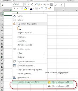 VBA: Personalizar el menú contextual de la hoja de Excel.