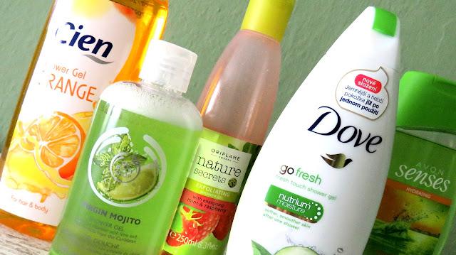 CIEN sprchový gél pomaranč, THE BODY SHOP sprchový gél Virgin Mojito, ORIFLAME peelingový sprchový gél malina-mäta, DOVE sprchový krém uhorka-zelený čaj, AVON sprchový gél citrus