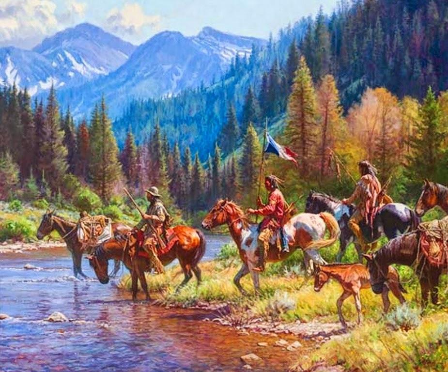 Cuadros modernos pinturas y dibujos indios caballos y for Cuadros pintados al oleo