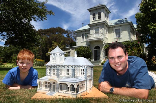 L-R: Nick Catley, 8, with his dad Richard Catley from Napier, who built a LEGO replica of Duart House in Havelock North. photograph