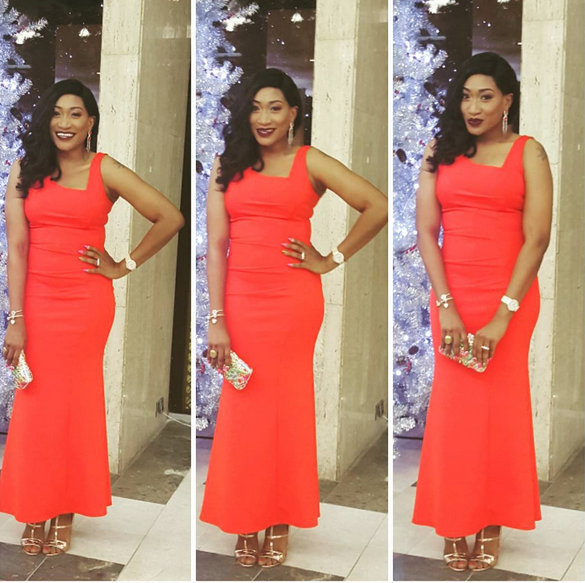 Oge Okoye, Fashion, Nollywood, Beauty, Oge Okoye Stuns In Red For Christmas Party