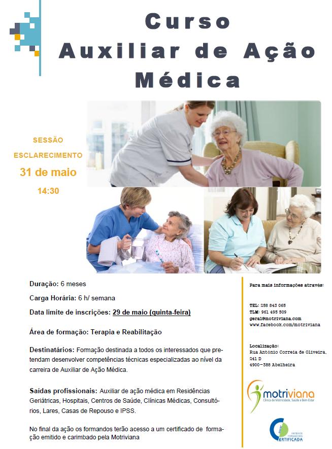 curso de auxiliar de ação médica em Viana do Castelo