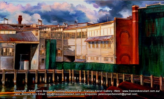 oil painting of Walsh Bay Wharves by artist Jane Bennett