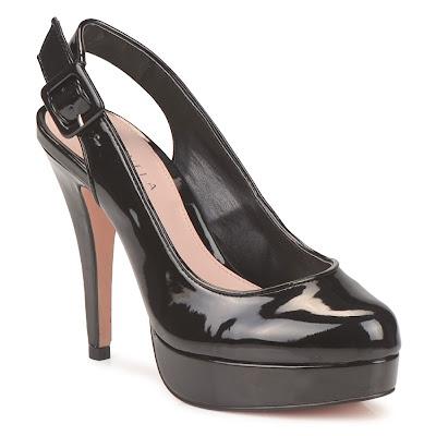 Patent black slingback shoes