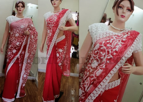 Georgette Saree with Lace Blouse