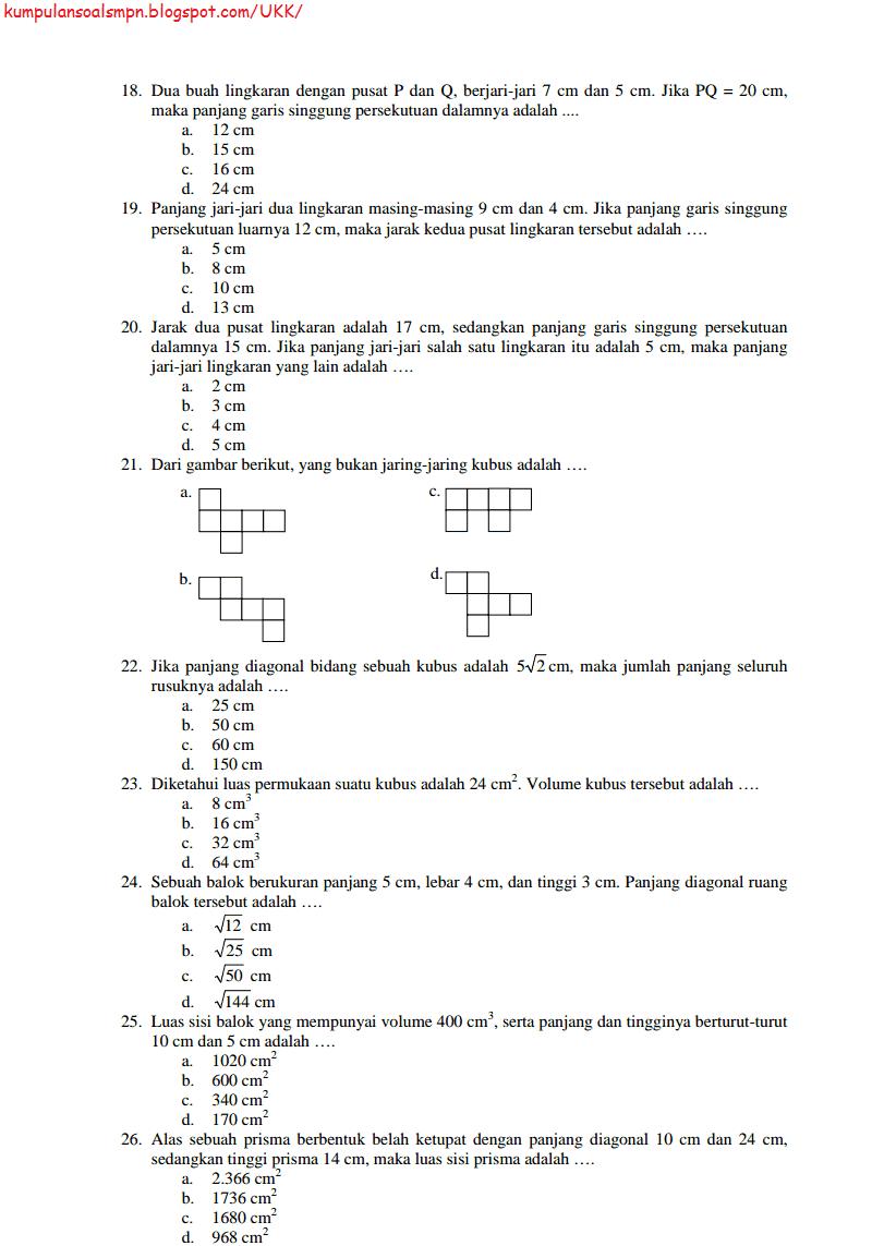 Prediksi Soal Ukk Kelas 8 Viii Smp Matematika Paket 1 Dan 2 Ta 2013 2014 Kumpulan Soal Dan