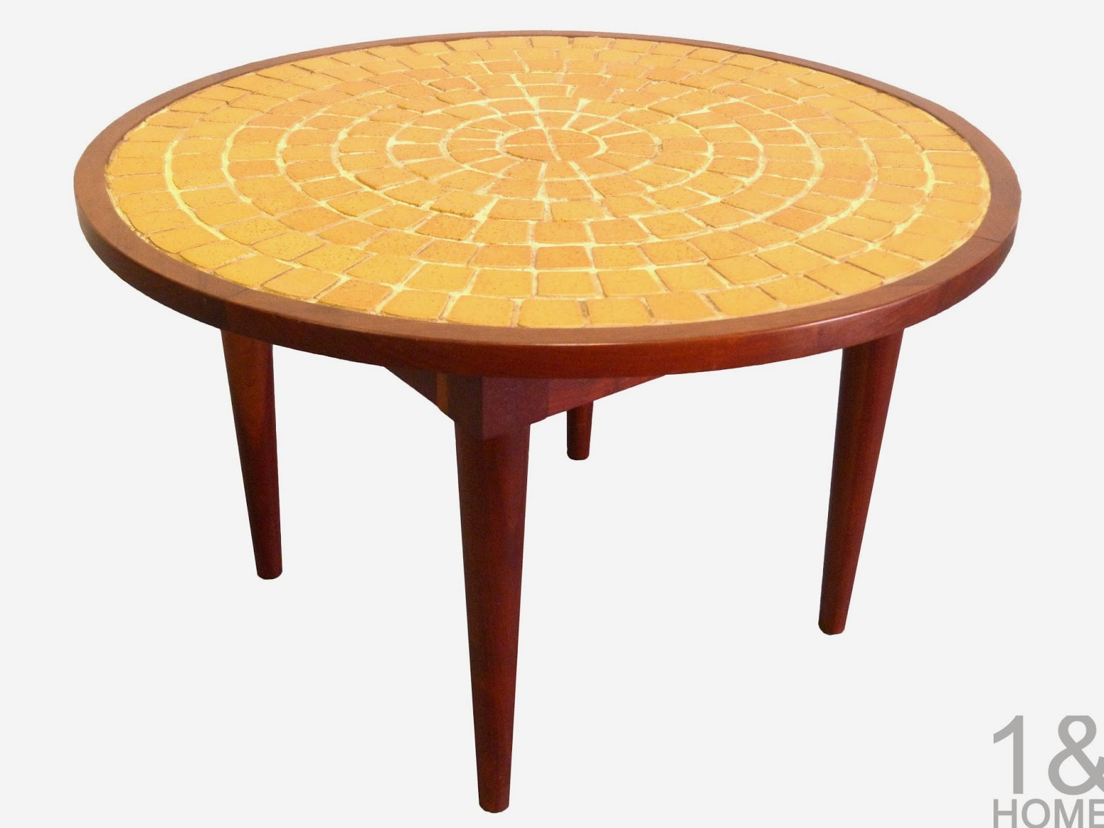 Mid-Century, chartreuse mosaic tile side table