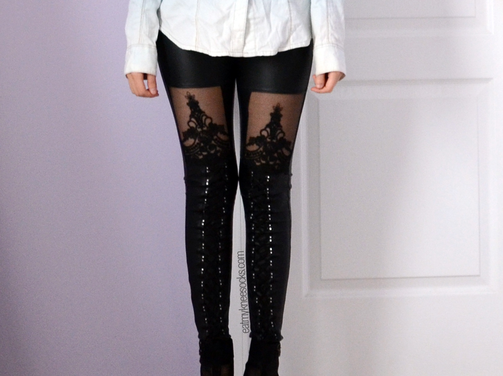 Super-comfy and stylish. Punk, gothic, rocker-vibe. Leather leggings from JollyChic!