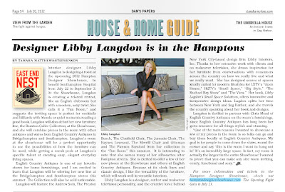 Designer Libby Langdon in the Hamptons - Article in Dan's Paper at the end of July 2012