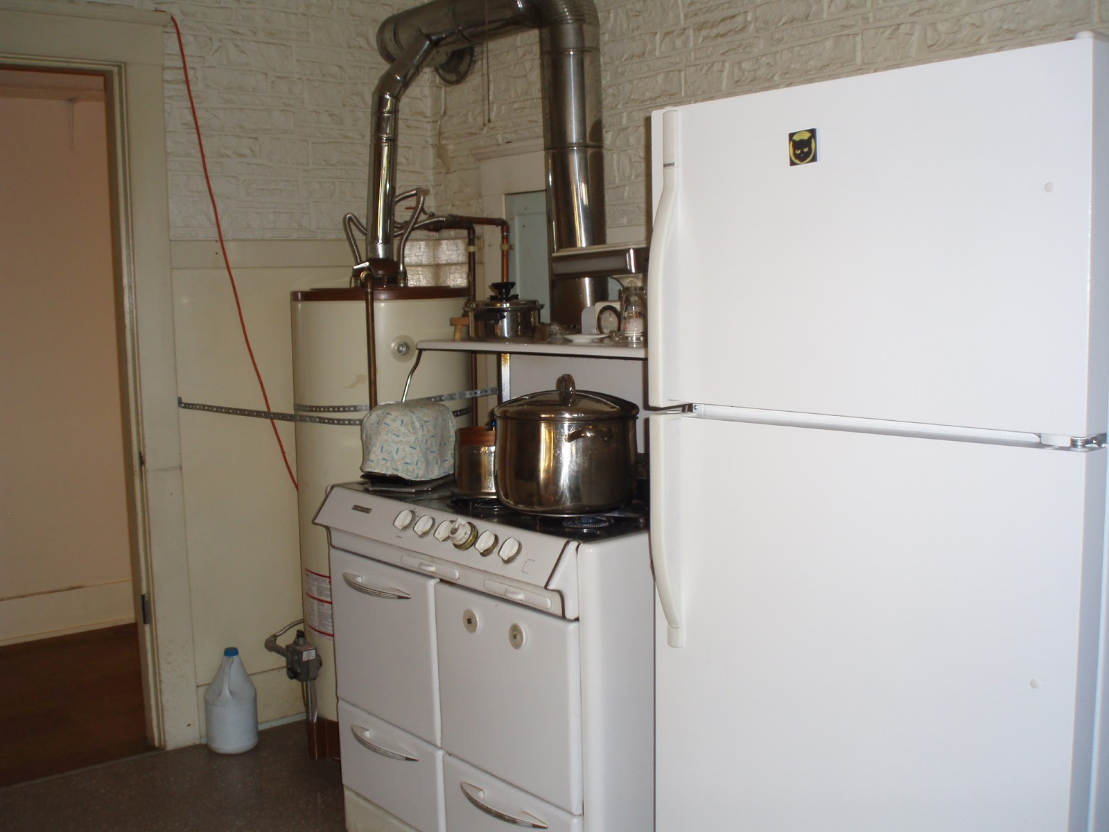 Recycle Archives Midori Haus 1950 Gas O Keefe Merritt Stove Wiring Diagram Fridge Water Heater The In Kitchen Was Literally Placed Center Of House Seismic Strapping Prevented Use
