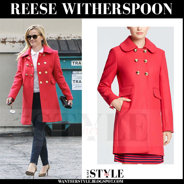 Reese Witherspoon in red gold button coat draper james lucinda what she wore winter fashion