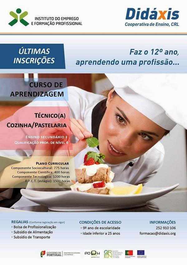 Últimas inscrições para curso de aprendizagem de cozinha / pastelaria em Famalicão