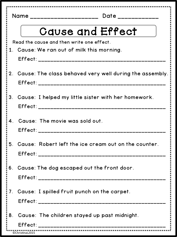 Printables Cause And Effect Worksheet 4th Grade the best of teacher entrepreneurs language arts cause and effect matching game worksheets