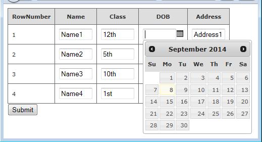 Editable Calendar Using Jquery : Bind jquery datepicker calendar in mvc webgrid and retrive