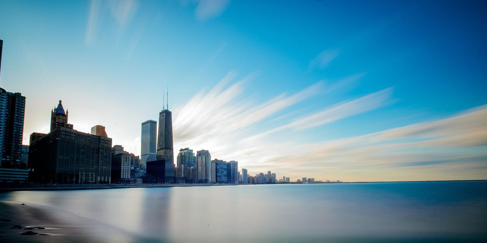 Chicago Panorama Long Exposure Black White