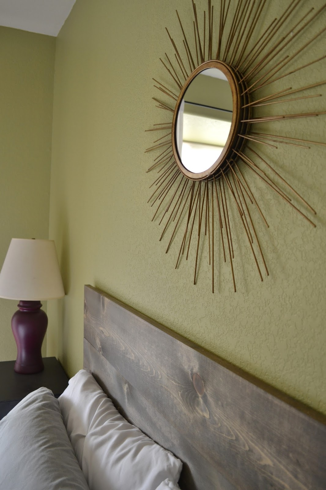 Sunburst Mirror above Headboard