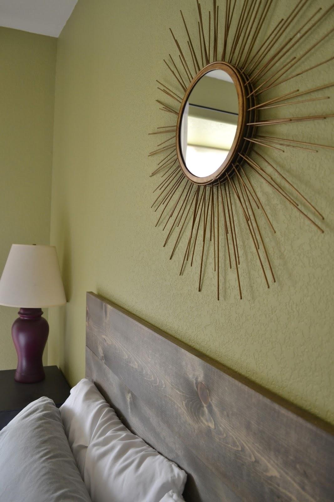 Sunburst Mirror above Headboard