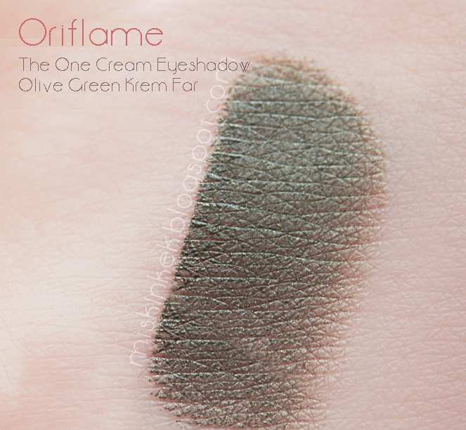 swatches_oriflame_one_cream_eyeshadow_olive_green_krem_far