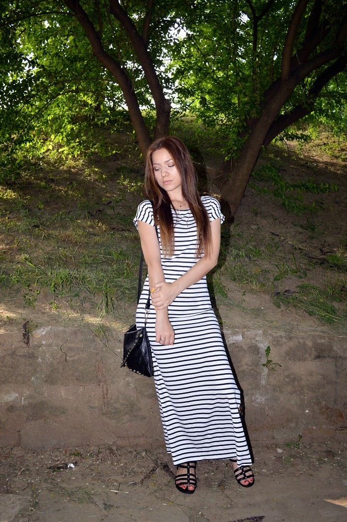 outfit, black gladiator sandals, striped maxi dress, gold layered necklace, dainty jewelry
