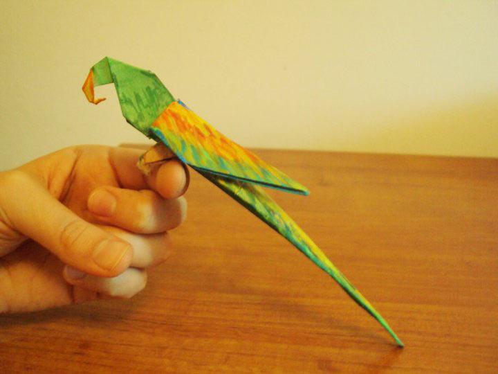 Как оригами из бумаги сделать попугая