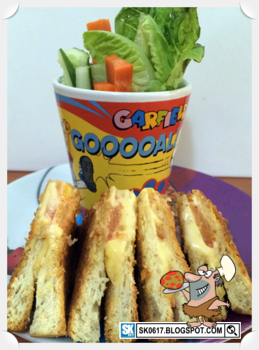 Meals in the office - Grilled cheese sandwich and vegetables salad