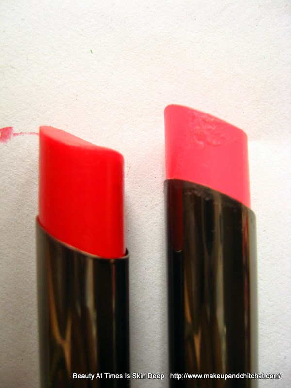 Review of Lakme Absolute Gloss Addict Lipsticks in Desert Rose and Red Delight