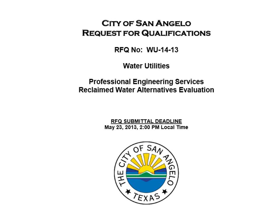 State Of The Division Reclaimed Water Engineering RFQ