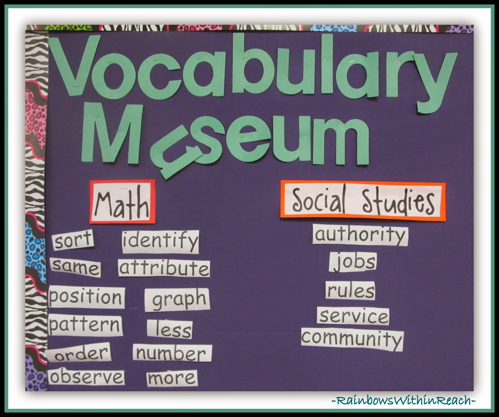 Vocabulary Museum: Word Wall RoundUP at RainbowsWithinReach