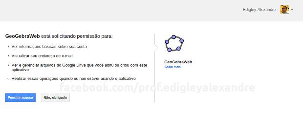 GeoGebra 4 para Google Chrome - Permissão