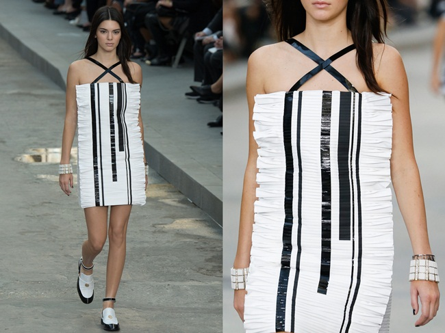 Chanel 2015 SS Piano Key-Print Cocktail Dress on Runway