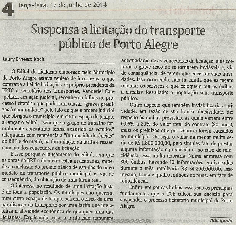 Suspensa licitação do transporte público de Porto Alegre – Matéria Koch Advogados