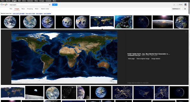 Screenshot of new Google Images results using the query nasa earth as an example