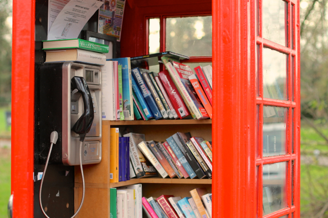 K6 phone box converted to a library in Cambridgeshire