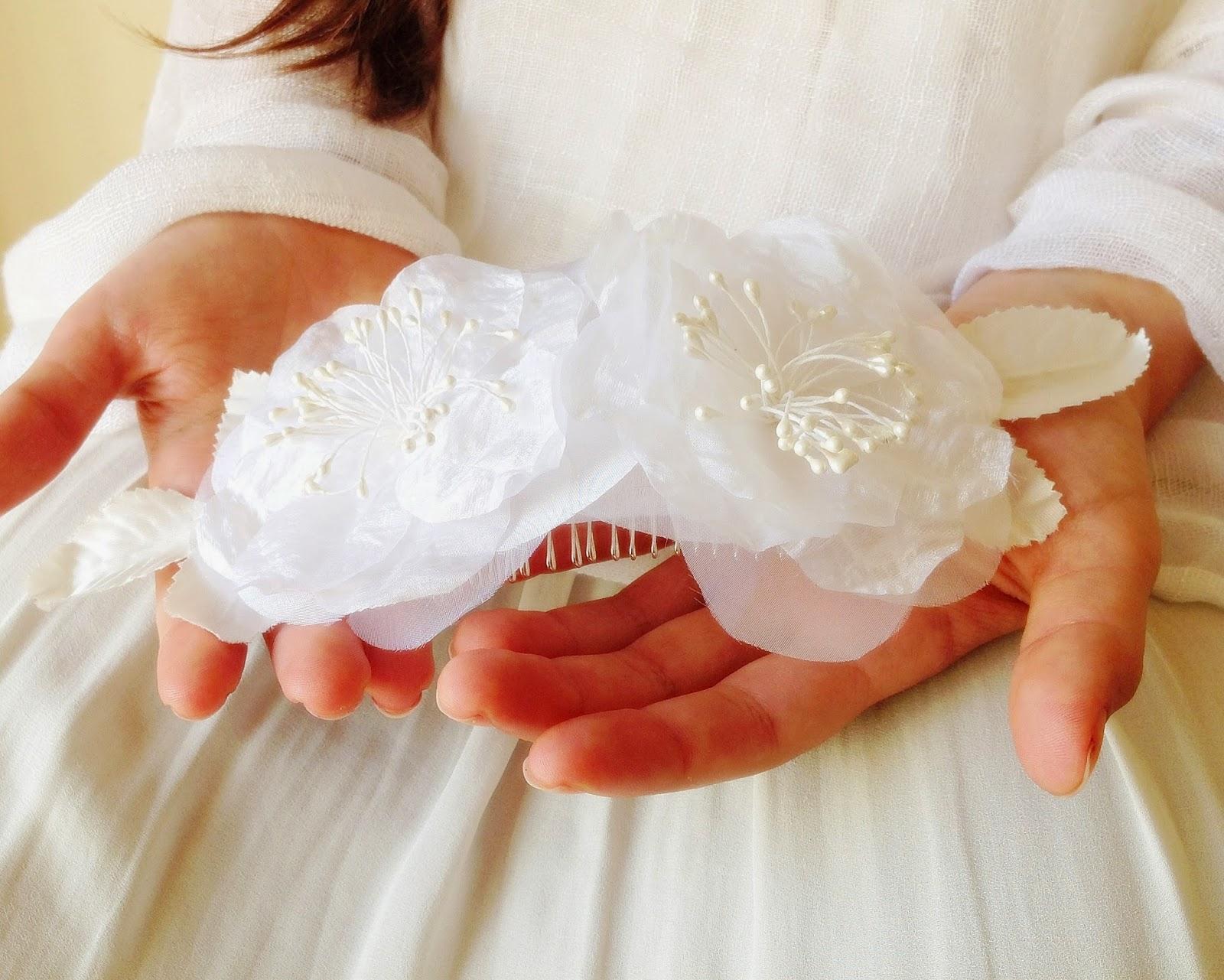 Silk flowers wedding hair accessory